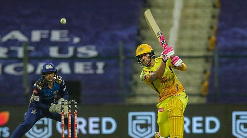 CSK player Faf du Plessis plays a shot during the first cricket match of IPL 2020 against Mumbai Indians, at Sheikh Zayed Stadium, Abu Dhabi, UAE, Saturday. (PTI)