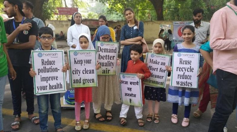 Around 250 children participated in an event called 'Climategiri'. It was a non-violent protest to make people aware of the dire situation that the earth is in today. (Photo: ANI)