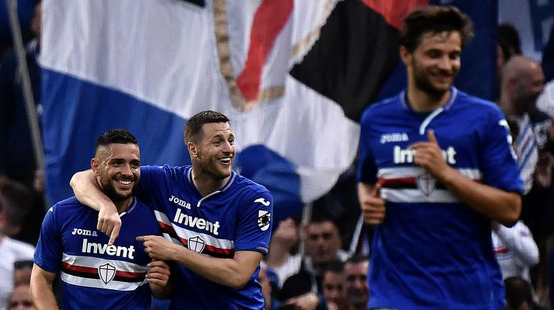 Sampdoria forward Fabio Quagliarella was close with an overhead effort in the first half and ended the campaign with 26 goals. He is almost certain to finish as Serie A's topscorer with his nearest rivals four goals behind. (Photo: AFP)