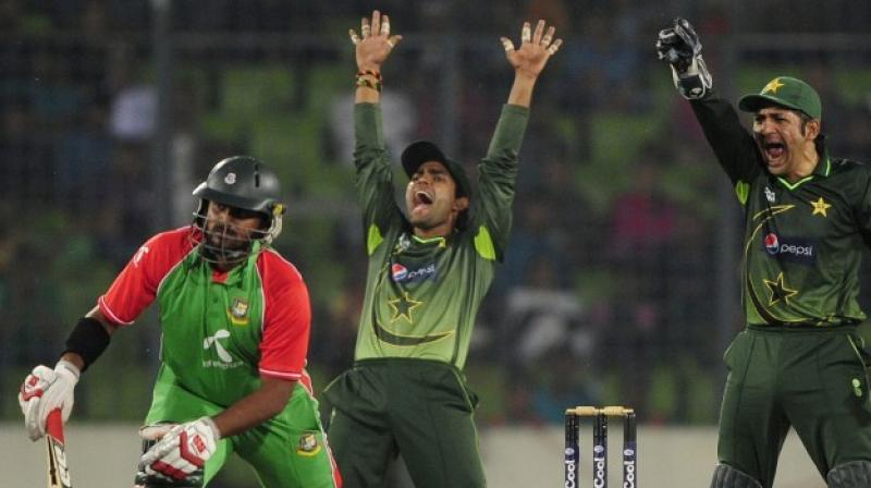 The World Cup warm-up match between Pakistan and Bangladesh in Cardiff on Saturday was called off without a ball being bowled due to rain. (Photo: AFP)