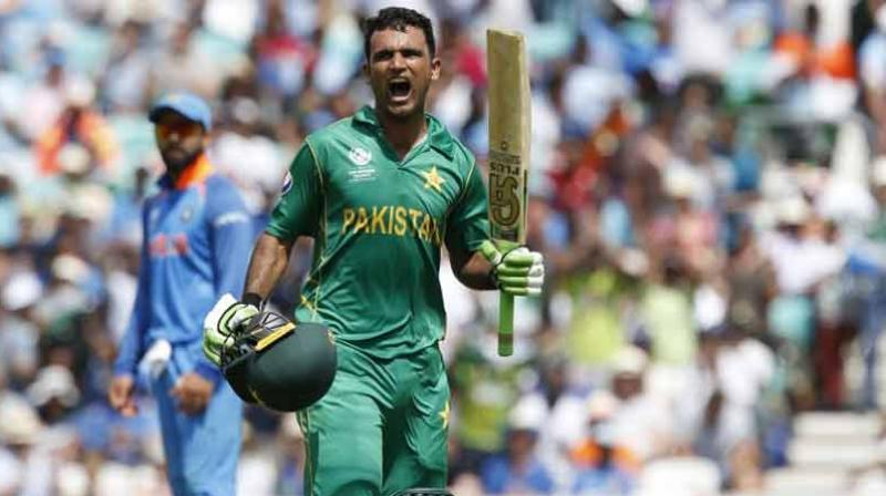 Fakhar Zaman changed the game with a crisp 114 to help Pakistan beat their bitter rivals by a 180-run margin at the Oval to lift the trophy. (Photo:AFP)