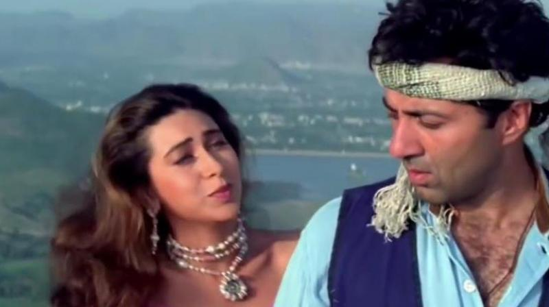 Sunny Deol and Karisma Kapoor in the film.