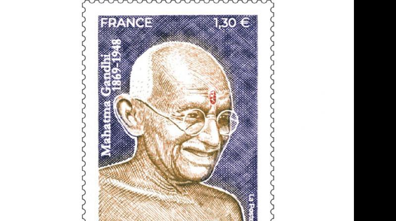 A postage stamp bearing the image of Mahatma Gandhi. (Photo: ANI)