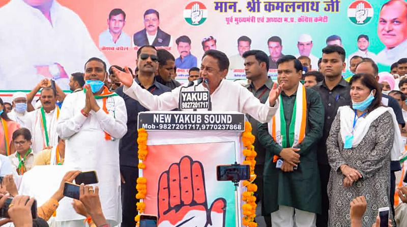 Congress leader Kamal Nath addresses an election campaign rally ahead of Madhya Pradesh assembly bypolls, in Gwalior district. (PTI)