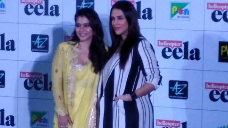 Kajol and Neha Dhupia at 'Helicopter Eela' trailer launch. (Photo courtesy: Shaheen)