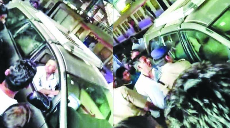 The video grab of the man driving onto the platform.