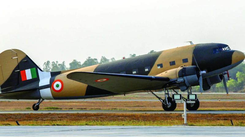 Dakota DC-3 VP 905 lands at Hindon Air Force station.