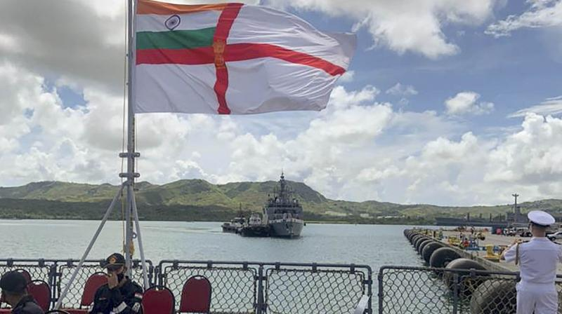 Indian Naval Ships Shivalik and Kadmatt arrived at Guam, an Island Territory of the USA, Saturday, Aug. 21, 2021 as part of their on-going deployment to nations in South East Asia and the Pacific Ocean. The two ships are scheduled to participate in the annual Exercise MALABAR-21, between navies of Australia, India, Japan and the USA. (PTI)
