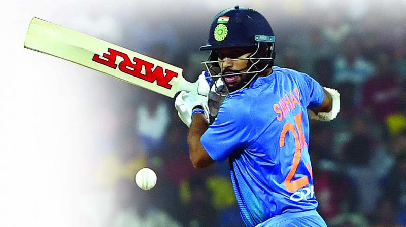 India opener Shikhar Dhawan en route to his half-century. (Photo: E.K. Sanjay)