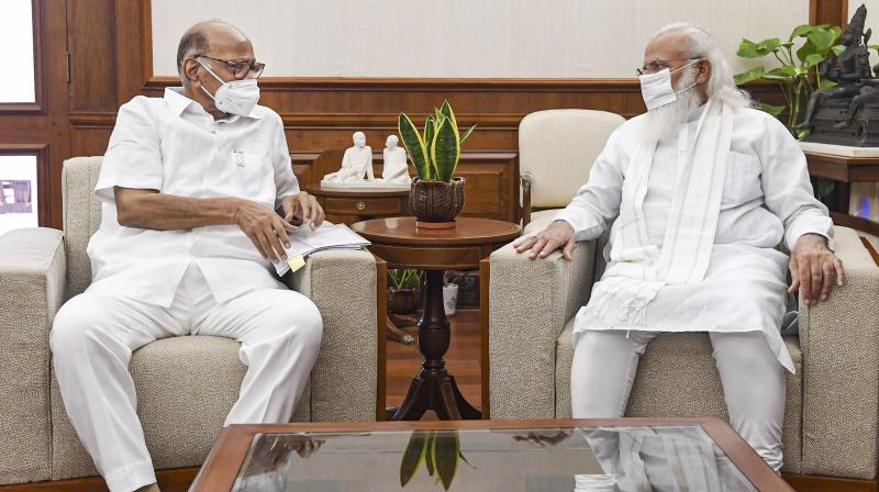 NCP chief Sharad Pawar meets Prime Minister Narendra Modi in New Delhi, Saturday, July 17, 2021. (PTI)