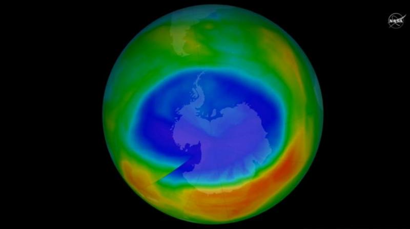 The change in ozone levels above Antarctica from the beginning to the end of southern winter — early July to mid-September — was computed daily from MLS measurements every year from 2005 to 2016.