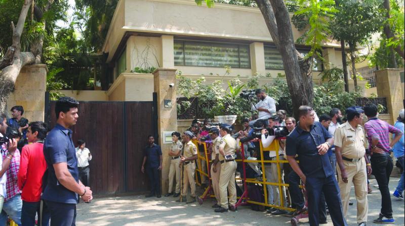 Journalists wait outside the residence of actor Sridevi on Tuesday evening. (Photo: Mrugesh Bandiwadekar)