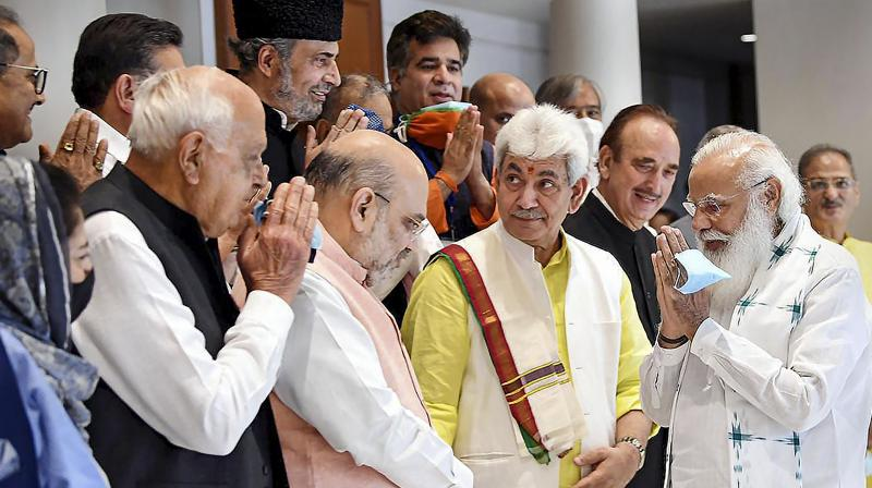 Prime Minister Narendra Modi during an all-party meeting with various political leaders from Jammu and Kashmir, in Delhi, Thursday, June 24, 2021. (PTI)