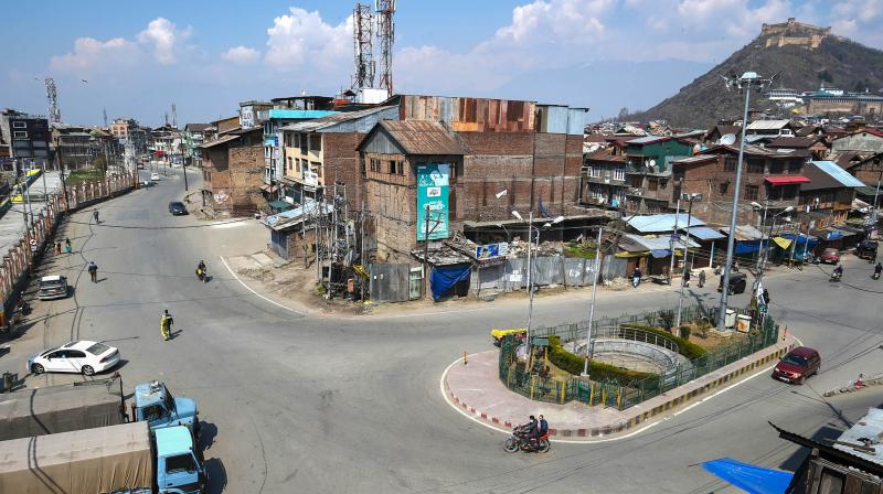 Deserted view of Khanyar neighbourhood during lockdown in Srinagar. PTI photo