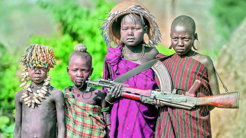 Gun and kids, Ethiopia