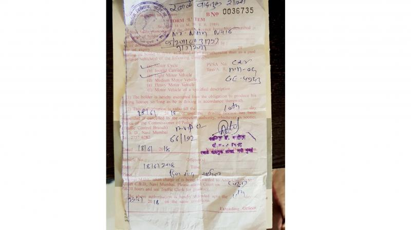 The challan issued to Nitin Nair.