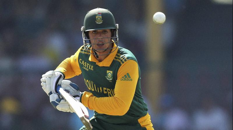 Quinton de Kock suffered a left wrist injury whilst batting during the second ODI at Centurion on Sunday and needs two to four weeks to make a full recovery. (Photo: AP)
