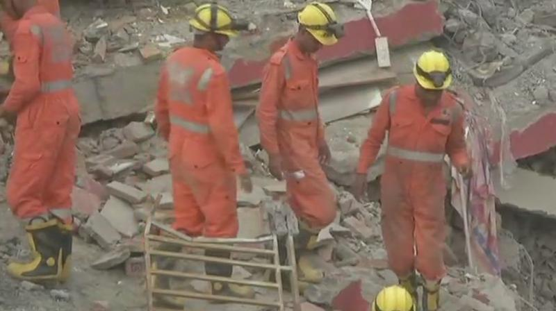 Heavy machinery has been deployed to remove the debris and search for the trapped bodies and look for survivors, several reports said. (Photo: Twitter/ANI)