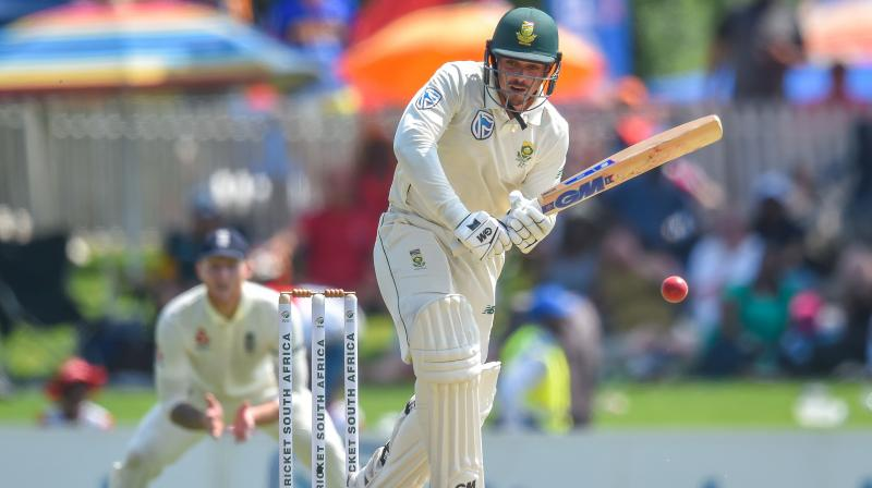 Quinton de Kock fell five runs short of his century after dragging South Africa out of early trouble to 277 for nine at the close on the opening day of the first test against England at Centurion Park on Thursday. (Photo:AFP)