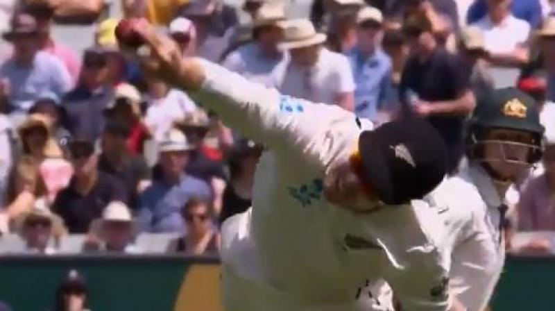 New Zealand's middle-order batsman Henry Nicholls on Friday took a stunning catch to dismiss Australia's Steve Smith in the ongoing Boxing Day match at the Melbourne Cricket Ground. (Photo:Twitter)