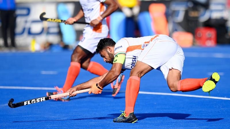 Indian team player in action at the game with Argentina. (Photo: Olympics.com)
