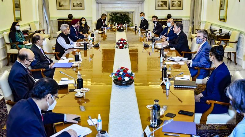 External Affairs Minister S Jaishankar and US Secretary of State Antony Blinken at a delegation level meeting, in New Delhi. (Photo: PTI)