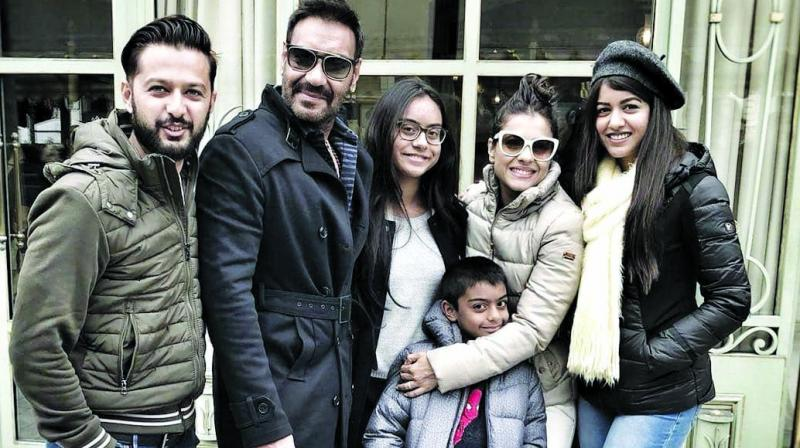 Ajay Devgn with his family in Paris