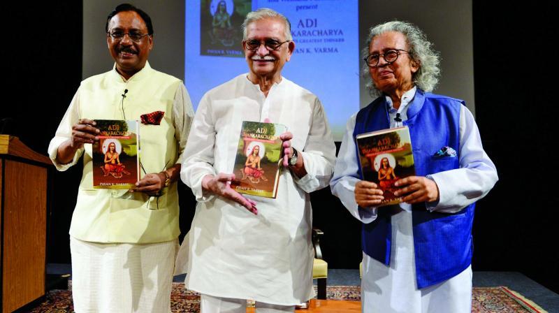 Pavan K Varma, Gulzar and Anil Dharker at the book launch