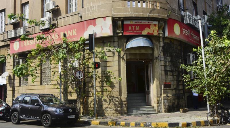 Outside view of Lakshmi Vilas Bank, in Mumbai, Wednesday, Nov 18, 2020. Shares of Lakshmi Vilas Bank (LVB) plunged as much as 20 per cent -- lower circuit -- on Wednesday after the Reserve Bank of India (RBI) imposed a 30-day moratorium on the cash-strapped lender, restricting cash withdrawals at Rs 25,000 per month. (PTI Photo)