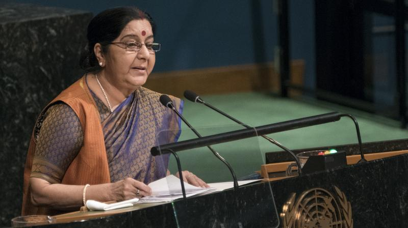 External Affairs Minister Sushma Swaraj addresses the United Nations General Assembly. (Photo: AP)
