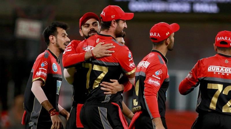 RCB players celebrate fall of KXIP wicket. (Photo: BCCI)