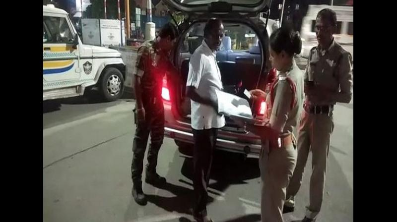A 'high alert' has been issued in the adjoining Tirupati Urban Police range. The police also conducted large-scale frisking and search operations on Srikalahasti-Tirupati roadway in the wee hours of Friday. (Photo: ANI)