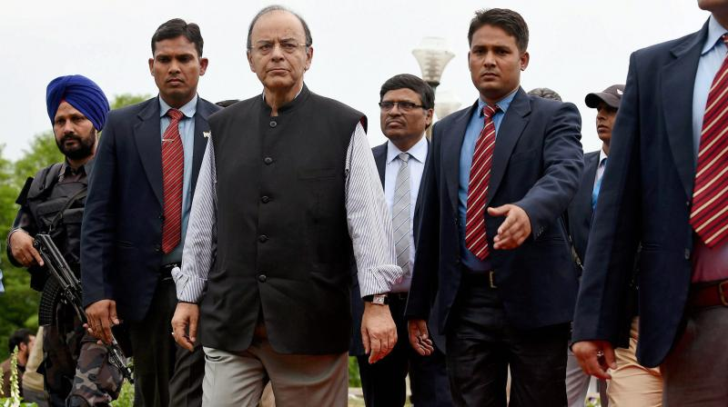 Union Finance Minister Arun Jaitley arrving to address a press conference on the concluding day of 14th Goods and Services Tax (GST) Council meet in Srinagar. (Photo: AP)