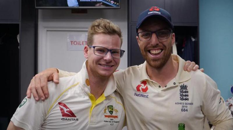 As the Ashes came to an end, Australia's batsman Steve Smith and England's spinner Jack Leach posed for a picture inside the dressing room. (Photo: ECB/Twitter)