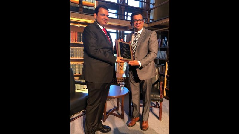 he CMO statement said that Fadnavis was bestowed with the Outstanding Leadership in Development Award from Georgetown University and Centre for Strategic and International Studies (CSIS) in Washington DC. (Photo: @Dev_Fadnavis/Twitter)