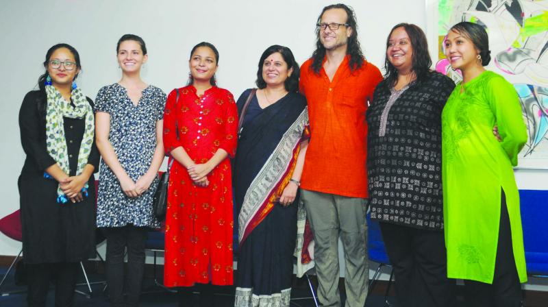 (From left)  Umang Chauhan, Lorenz Hernandez, Arushi Srivastava, Sarita Anand, Lonny Grafman, Meenal Rana and Anna Spitzer