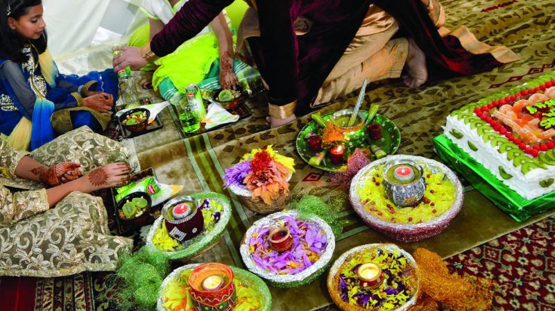 A variety of Kashmiri delicacies at a wedding.