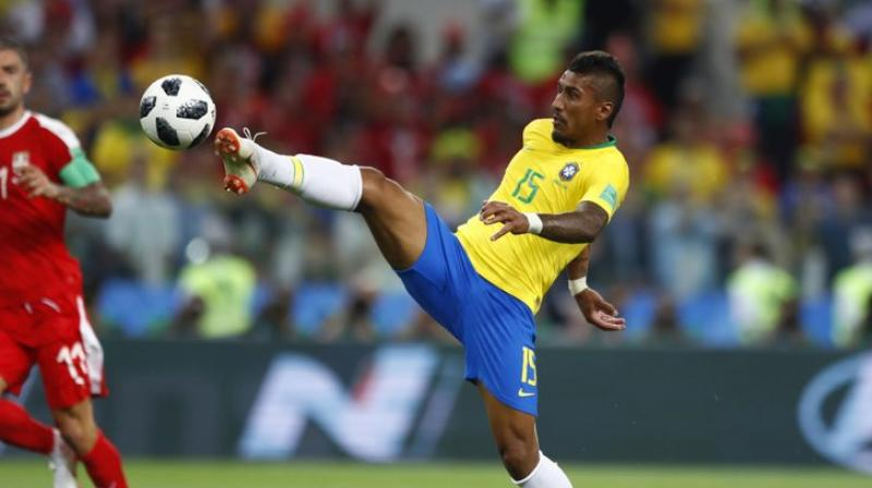 Paulinho scores Brazil's first goal during their Group E match against Serbia at the Spartak Stadium in Moscow. (Photo: AP)