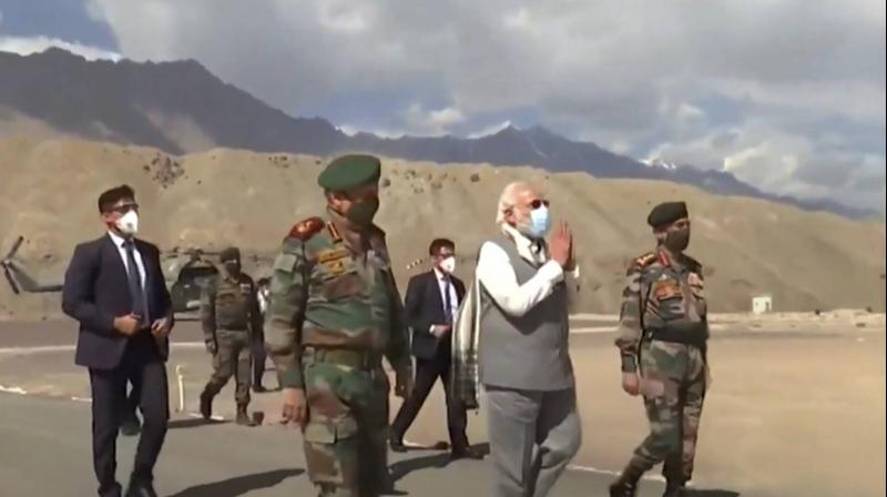 Prime minister Narendra Modi visits troops in Ladakh in the context of the border standoff between India and China in the Galwan Valley. (File Photo: PTI)in the Ladakh region. (File Photo: AP)