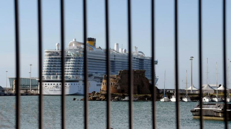 The Costa Crociere liner carrying some 7,000 people was in a lockdown at the Italian port of Civitavecchia. AFP Photo