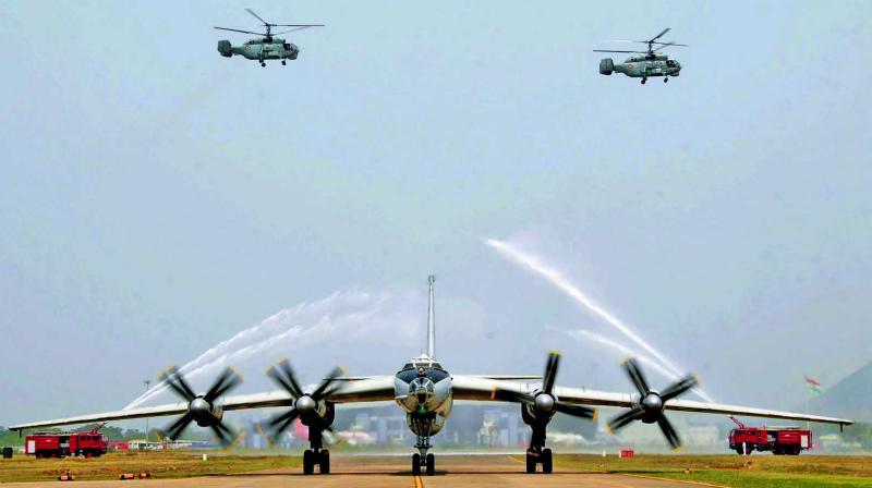 The TU-142M patrol aircraft lands at INS Dega naval base in Vishakapatnam. (Photo: PTI)