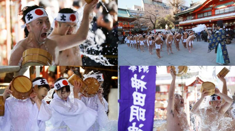Japanese Shinto followers celebrated the cold water-endurance festival in Tokyo in a ritual called Misogi in which they believe the water purifies their soul. (Photo: AP)