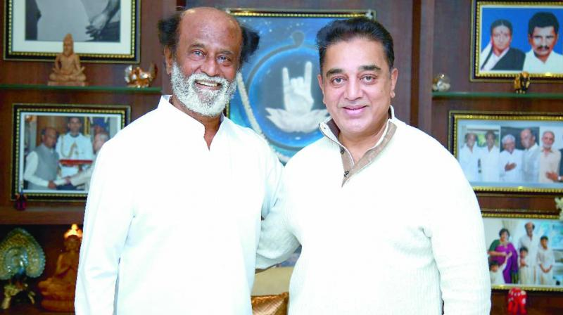 Actors Rajinikanth and Kamal Haasan during a meeting in Chennai. (Photo: Asian Age/File)