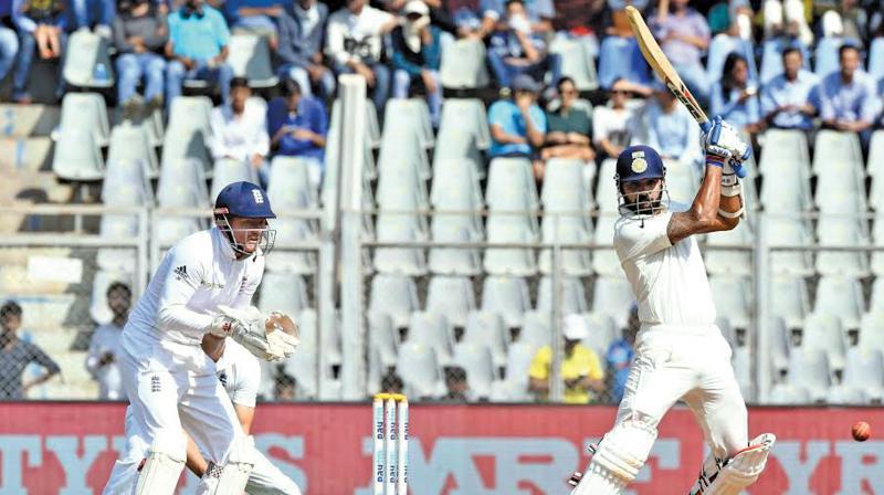 Murali Vijay plays a shot en route to his unbeaten 70. (Photo: Rajesh Jadhav)