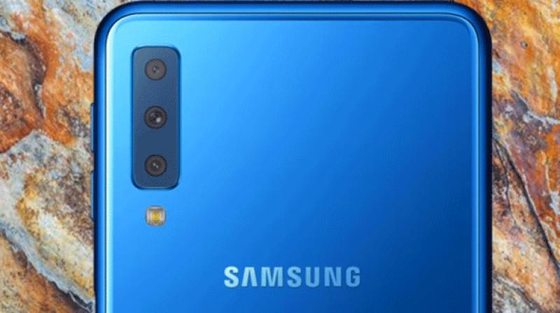 Samsung on Tuesday unveiled its first triple camera smart phone, the Galaxy A7, with an ultra wide lens that allows one to capture unrestricted wide-angle photographs. (Photo: Youtube)