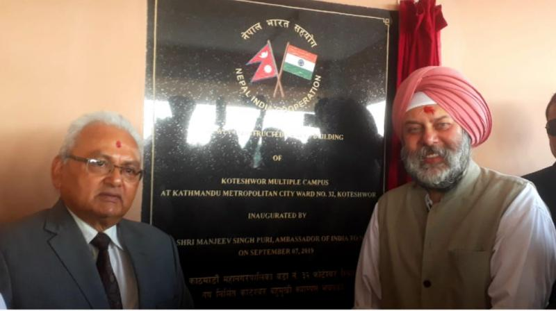 Ambassador Manjeev Singh Puri, today, inaugurated the building of Shree Koteshwor Multiple Campus, Kathmandu, built at a cost of NRs 4.5 crore under India-Nepal Development Partnership. (Photo: File | Representational)