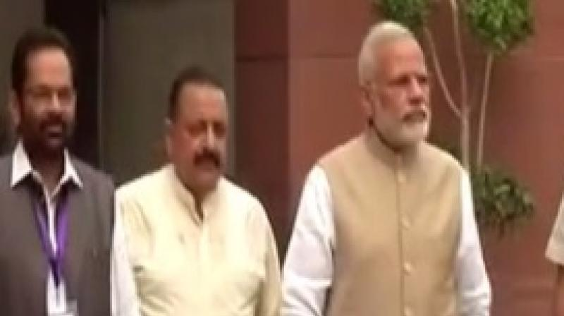 Prime Minister Narendra Modi addresses in media ahead of monsoon session that begins from Monday. (Photo: Twitter | ANI)