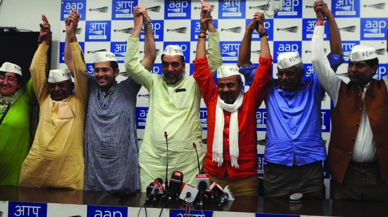 Delhi minister Gopal Rai with AAP's Lok Sabha candidates during a press conference in New Delhi on Tuesday. (Photo: BIPLAB BANERJEE)