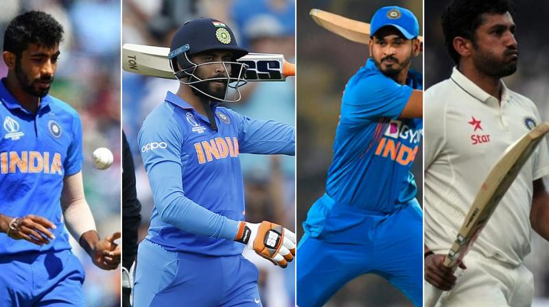 The Board of Control for Cricket in India (BCCI) on Friday extended birthday greetings to four Men in blue cricketers -- Jasprit Bumrah, Ravindra Jadeja, Shreyas Iyer and Karun Nair. (Photo:AP/AFP)