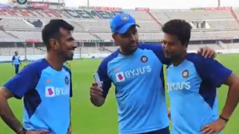 India's Yuzvendra Chahal on Thursday said that he spends time with his family, friends and dog named Groot to unwind himself from a hectic schedule. In a video posted by Board of Control for Cricket in India (BCCI), Rohit Sharma got candid with 'usual characters' of India team, Chahal and Kuldeep Yadav. (Photo:BCCI/screengrab)
